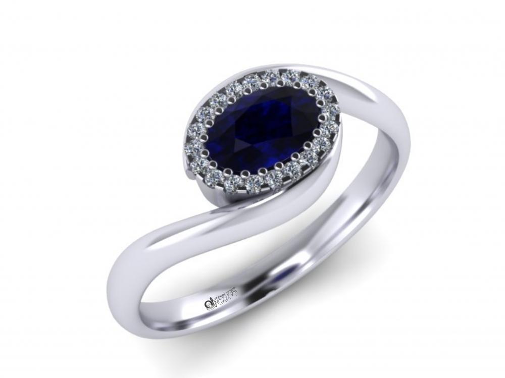 Inel de logodna, inel ATCOM Lux, inel logodna cu safir si diamante .